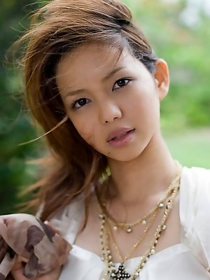 Yura Aikawa cute Asian teen in white is adorable in her white dress